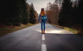 Picture road, girl, spotlight