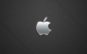 Wallpaper black, Apple, metall
