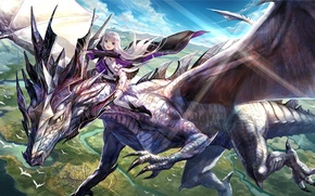 Picture the sky, girl, clouds, flight, landscape, mountains, birds, nature, dragon, anime, art, fuji choko, mira, …