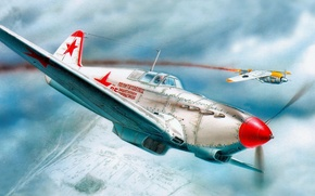 Picture fw 190, aviation, dogfight. russian fighter, aircraft, airplane, war