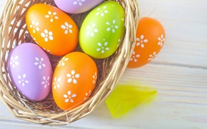 Picture basket, colored, eggs, spring, Easter, Easter, eggs