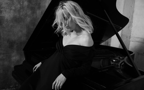 Picture girl, pose, background, sweetheart, portrait, dress, blonde, neckline, light, wall, tool, piano, black, shoulders, h\b, …