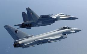 Wallpaper fighters, pair, Eurofighter Typhoon, multipurpose, Su-30MKI