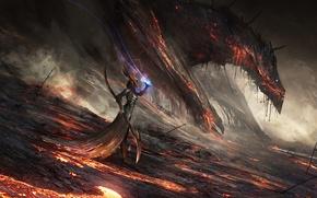 Picture magic, art, MAG, dragon, girl, fantasy, staff, lava, fire