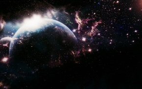 Picture space, space, fiction, darkness, planet, the universe