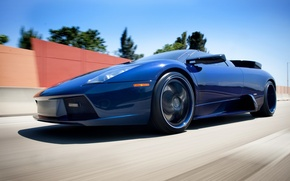 Picture lamborghini, blue, racing