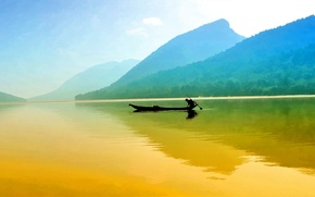 Wallpaper the sky, mountains, lake, reflection, boat