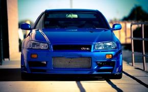 Wallpaper blue, Nissan, Nissan, blue, gt-r, Skyline, R34, skyline