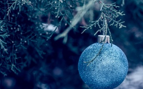 Picture decoration, ball, New year, tree, blue