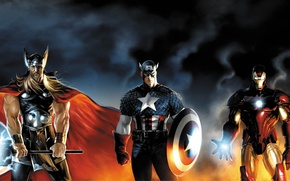 Picture marvel, Iron Man, Captain America, heroes, Thor