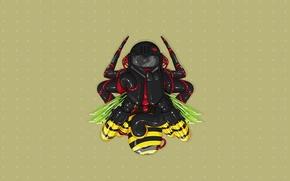 Wallpaper bee, fly, minimalism, vector