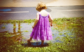Picture child, dress, puddle, girl