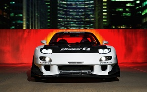 Picture car, night, tuning, mazda, rx7, tuning, rx-7