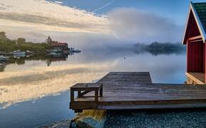 Picture fog, lake, boats, morning, pier, Norway, house, Norway, Røyksund