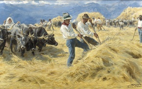 Picture painting, hay, harvest, i A bruzzerne, Threshing, stack, Severin Kroyer