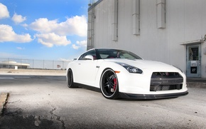 Picture white, the sky, clouds, the building, the door, the fence, nissan, ladder, white, Nissan, gtr, …