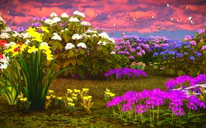Wallpaper the sky, grass, clouds, butterfly, flowers, daffodils, Phlox