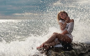 Picture sea, water, girl, squirt, mood, coast, wet, dress, blonde, surf, sitting, in white, the sun, …