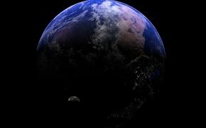 Wallpaper lights, planet, satellite, relief