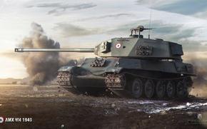 Wallpaper heavy, smoke, World of Tanks, tank, AMX M4 1949, field, French