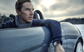 Picture machine, watch, scarf, actor, Benedict Cumberbatch, Benedict Cumberbatch