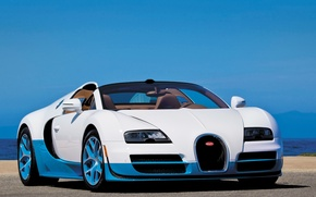 Picture Roadster, white, Bugatti Veyron, blue, Grand Sport, Vitesse