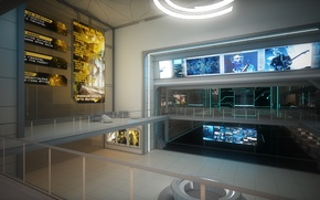 Picture art, security, the room, monitors, render, Corporation
