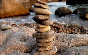 Picture shore, pebbles, Turret