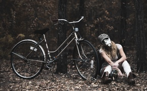 Picture girl, bike, gas mask