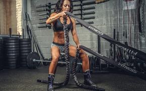Wallpaper gym, brunette, ropes, cordage, pose, crossfit