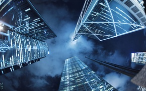 Picture the sky, night, the city, building, Hong Kong, skyscrapers, China, tall, Hong Kong, from the …
