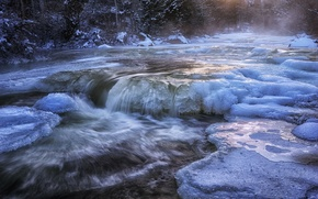 Picture snow, cold, ice, winter, river, water, stream, river, forest