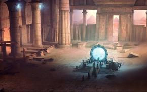 Wallpaper pyramid, art, people, David Munoz Velazquez, ruins, the gates, temple, sand, Stargate, columns