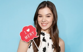 Picture smile, background, plate, makeup, dress, actress, hairstyle, brown hair, photoshoot, Hailee Steinfeld, Haley Steinfeld, Dazzlin, …