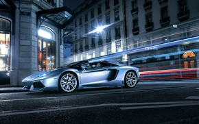 Picture Roadster, Lamborghini, City, Front, LP700-4, Aventador, Supercars, Road, Silver, Door, Ligth