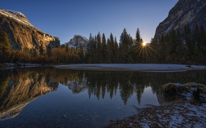 Picture the sky, the sun, rays, trees, sunset, mountains, lake, rocks, USA, Yosemite National Park, Sierra ...