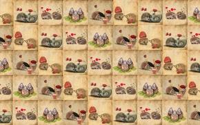 Picture background, texture, children's, hedgehogs