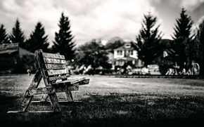 Picture the sky, bench, bokeh