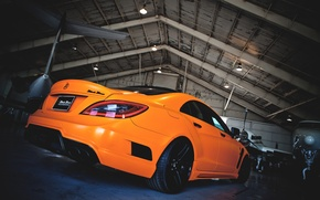 Picture auto, machine, orange, the plane, tuning, hangar, mercedes-benz, Mercedes, cls, royal