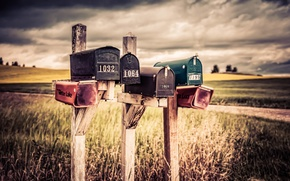 Picture field, clouds, storm, farm, mailboxes