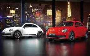 Picture machine, auto, Volkswagen, white, red