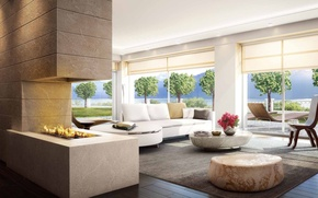 Picture Villa, Windows, interior, fireplace, living room