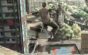Picture freedom, the city, jump, helicopter, guy, Man vs Helicopter