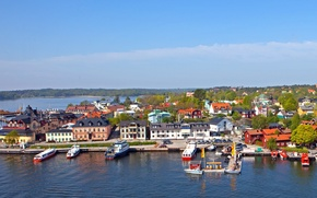 Picture the city, coast, pier, pierce, Sweden, Vaxholm