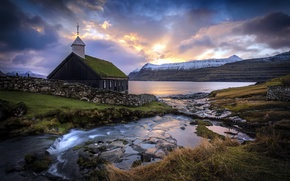Picture Church, Sunrise, Faroe Island