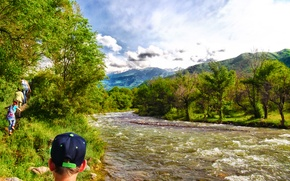 Picture greens, the sky, clouds, trees, mountains, cool, beautiful, river, blue sky, good day.