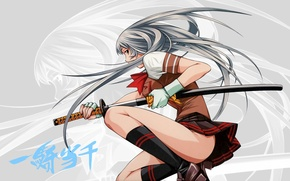 Picture katana, characters, gloves, schoolgirl, knee, long hair, sheath, mini skirt