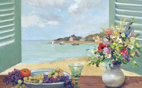 Picture landscape, flowers, boat, picture, sail, shutters, fruit, Marseille Dif, Window with sea views