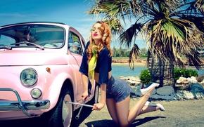 Wallpaper auto, girl, key, vintage, retro, Pin up, Marianna Anagnostopoulou