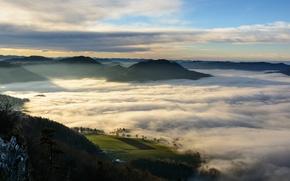 Picture nature, clouds, fog, hills, Austria, Scheibbs, Erlauf valley, Danube, Lower Austria, Pale stone mountain